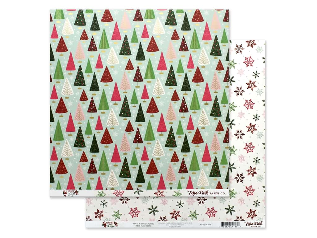 Echo Park Collection Merry & Bright Paper 12 in. x 12 in. Winter Wonderland (25 pieces)