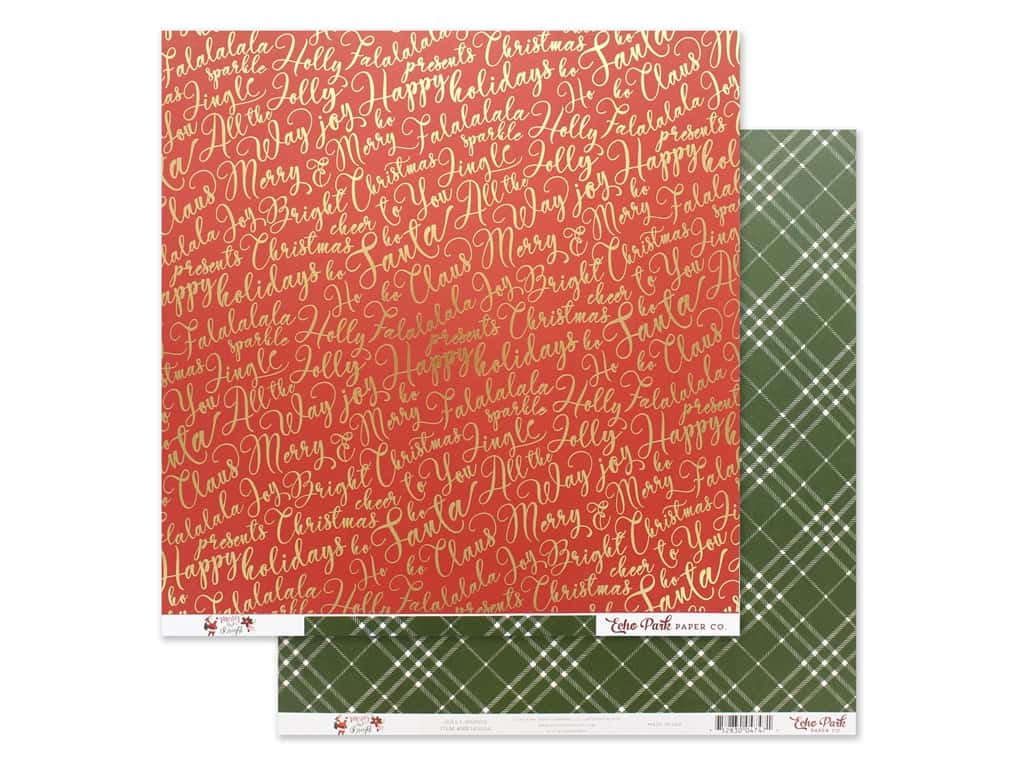 Echo Park Collection Merry & Bright Paper 12 in. x 12 in. Jolly Words (25 pieces)