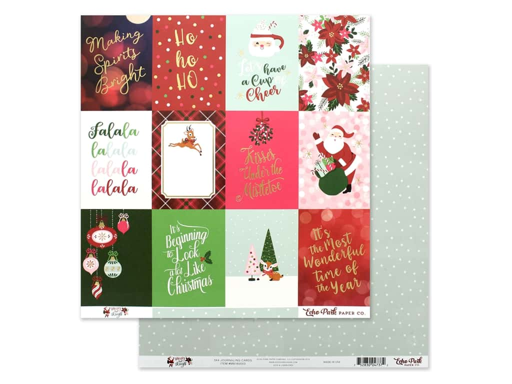Echo Park Collection Merry & Bright Paper 12 in. x 12 in. Journaling Cards 3 in. x 4 in. (25 pieces)