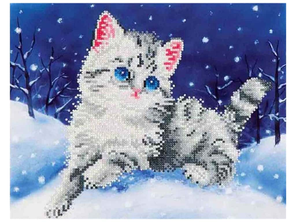 Diamond Dotz Intermediate Kit - Kitten In The Snow