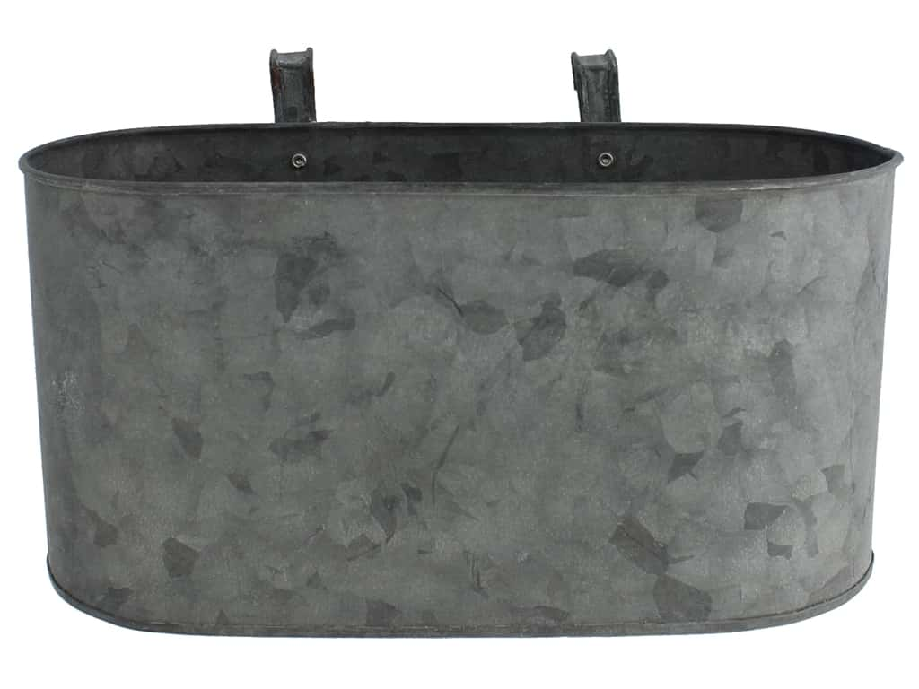 Sierra Pacific Crafts Galvanized Bucket Oval With Hooks 10.25 in. x 5 in. x 4.5 in.