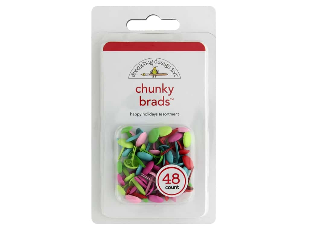 Doodlebug Chunky Brads 48 pc. Happy Holidays