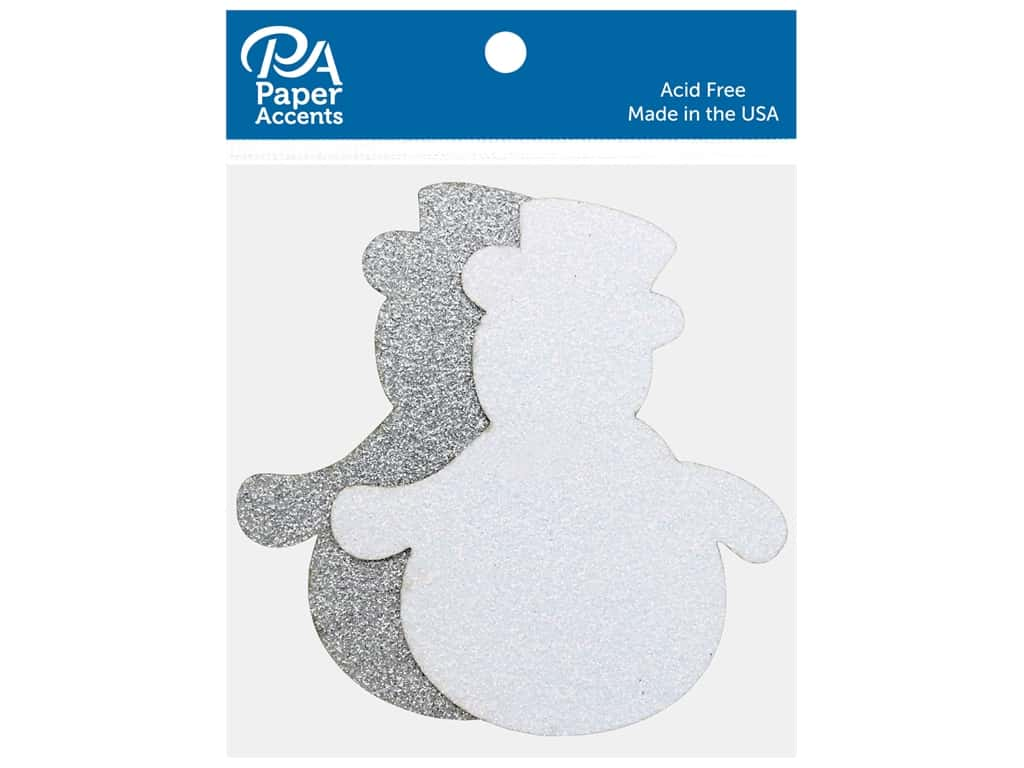Paper Accents Glitter Shapes Snowman #2 White & Silver 8 pc