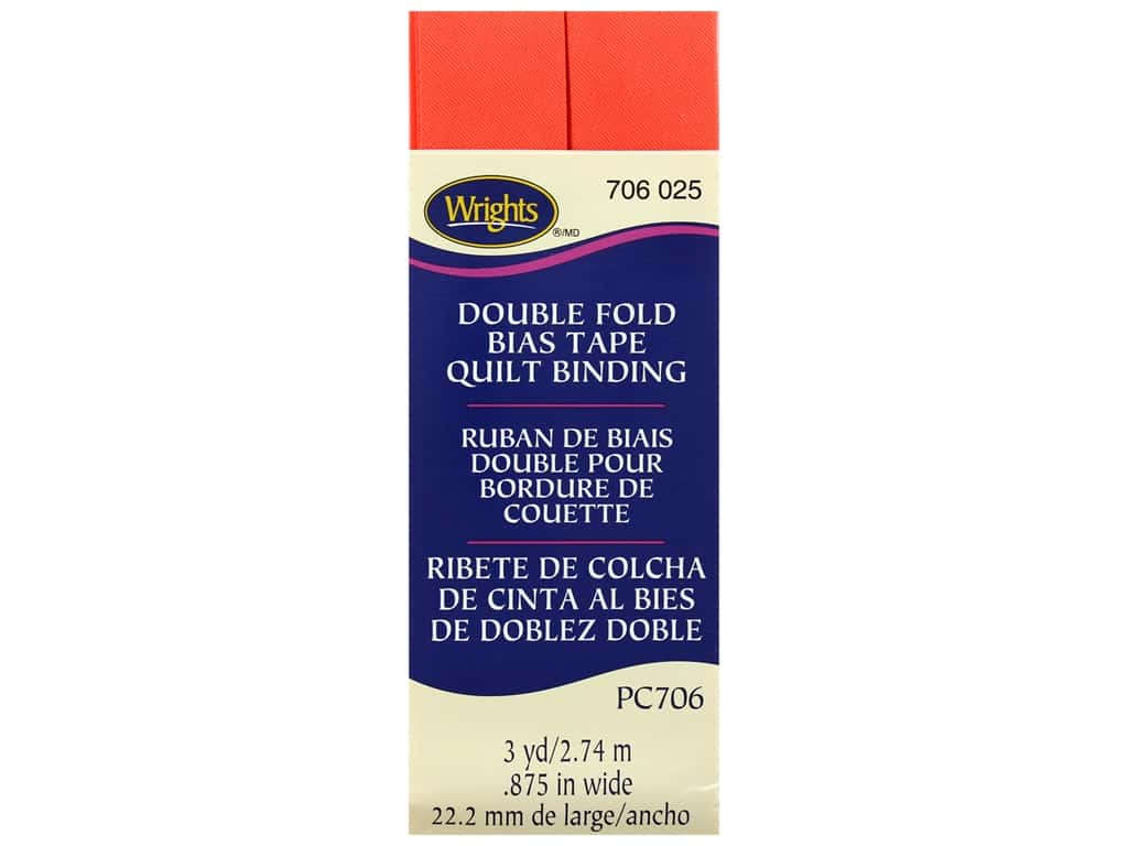 Wrights Double Fold Quilt Binding - Neon Red 3 yd.