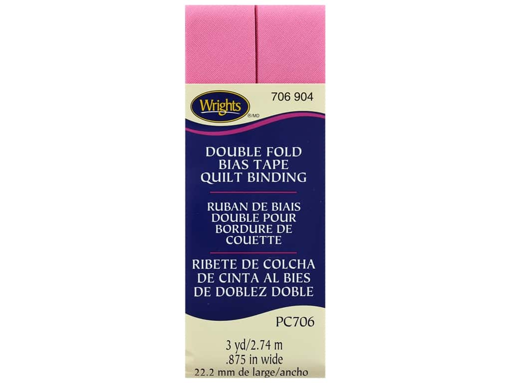 Wrights Double Fold Quilt Binding 3 yd. Hot Pink