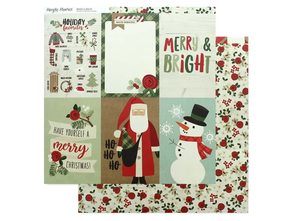 Simple Stories Collection Merry & Bright Paper 12 in. x 12 in. Elements Vertical 4 in. x 6 in. (25 pieces)