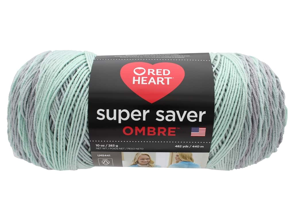 Coats & Clark Red Heart Super Saver Jumbo Yarn 10 oz Ombre Fresh Mint
