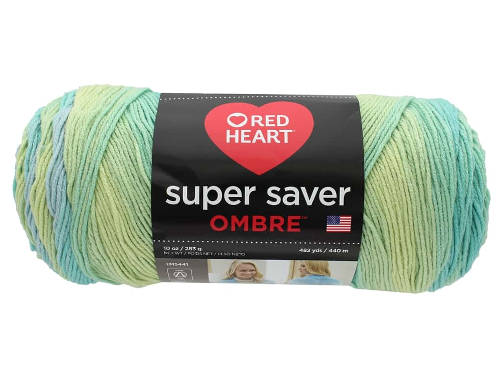 Coats & Clark Red Heart Super Saver Jumbo Yarn 10 oz Ombre Seaside