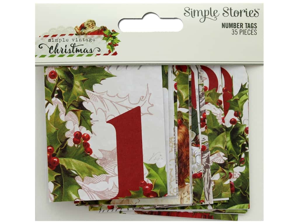 Simple Stories Collection Vintage Christmas Number Tags