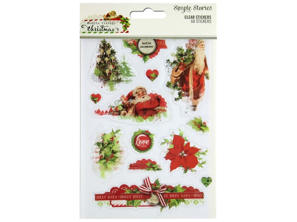 Simple Stories Collection Vintage Christmas Stickers Clear
