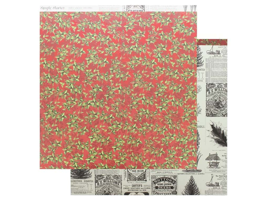 Simple Stories Collection Vintage Christmas Paper 12 in. x 12 in. Deck The Halls (25 pieces)