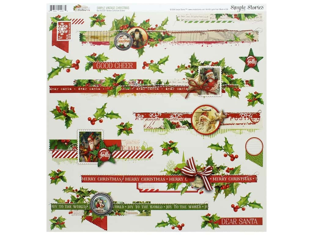 Simple Stories Collection Vintage Christmas Sticker 12 in. x 12 in. Border (12 pieces)