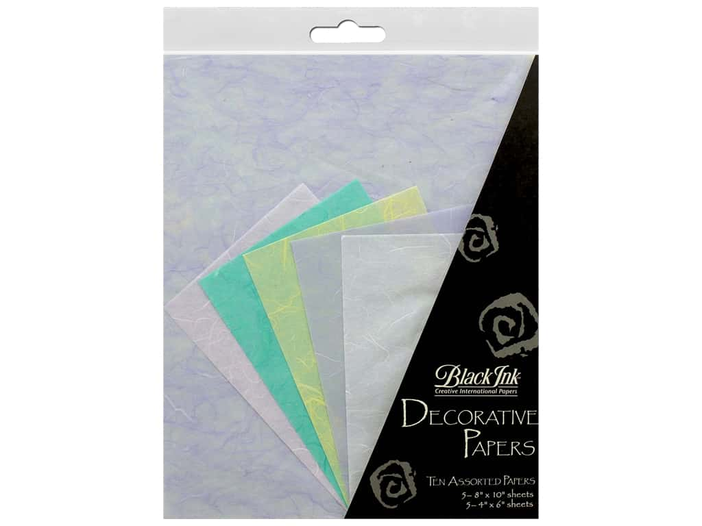 Black Ink Decorative Papers Pastels 10pc