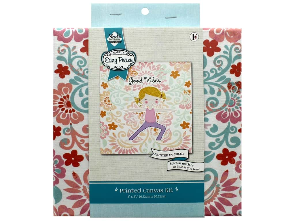 """Needle Creations Kit Embroidery Canvas 8""""x 8"""" Good Vibes"""