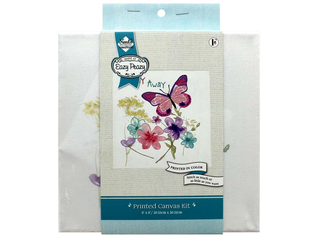 """Needle Creations Kit Embroidery Canvas 8""""x 8"""" Butterfly"""