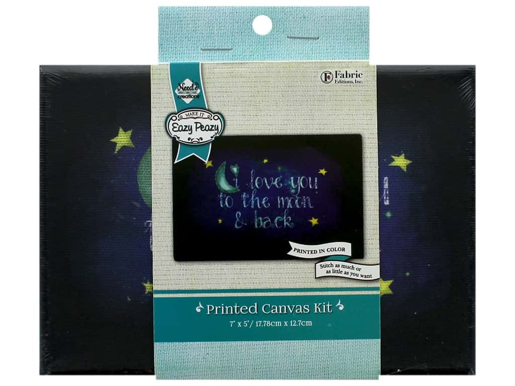 """Needle Creations Kit Embroidery Canvas 5""""x 7"""" Love You Moon"""