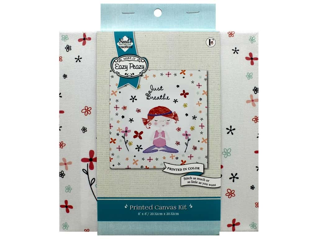 "Needle Creations Kit Embroidery Canvas 8""x 8"" Just Breathe"