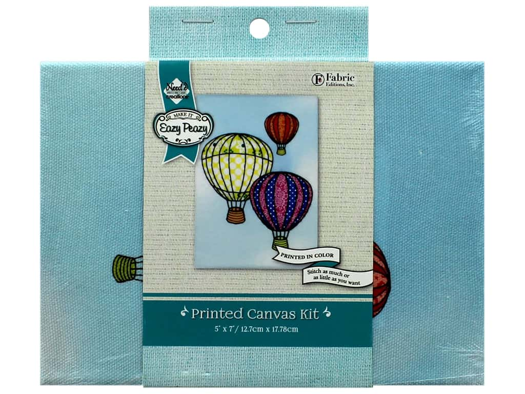 "Needle Creations Kit Embroidery Canvas 5""x 7"" Hot Air Balloon"