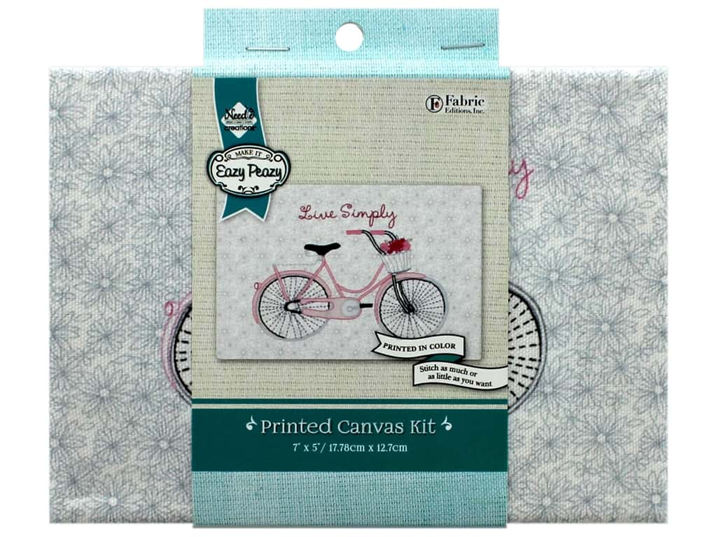 """Needle Creations Kit Embroidery Canvas 5""""x 7"""" Bicycle Live Simply"""