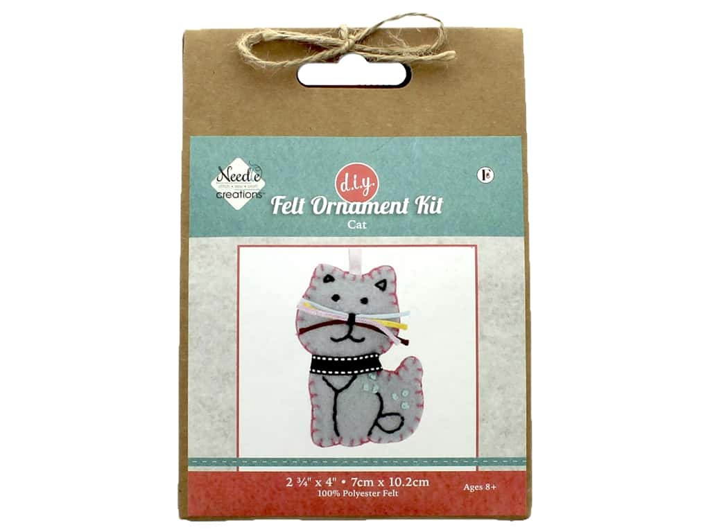 Needle Creations Kit Felt Ornament Blue Cat