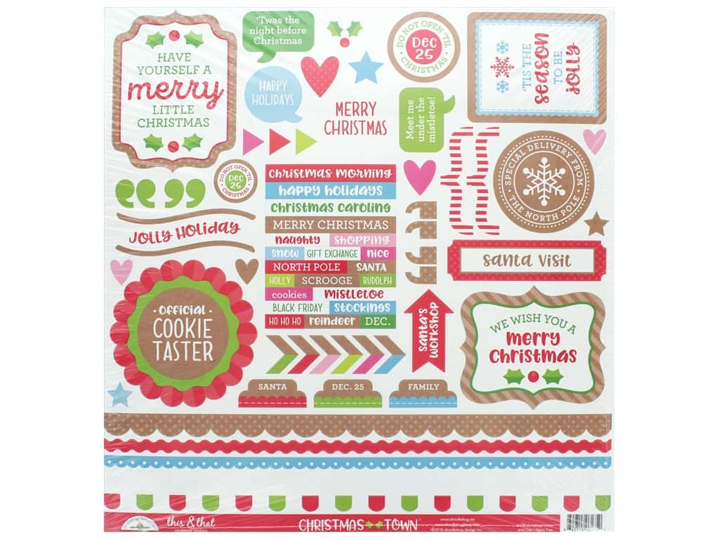 Doodlebug Collection Christmas Town Sticker This & That (12 sets)