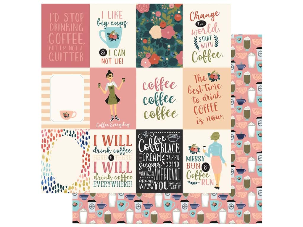 Echo Park Collection Coffee Paper 12 in. x 12 in. Journaling Cards 3 in. x 4 in. (25 pieces)