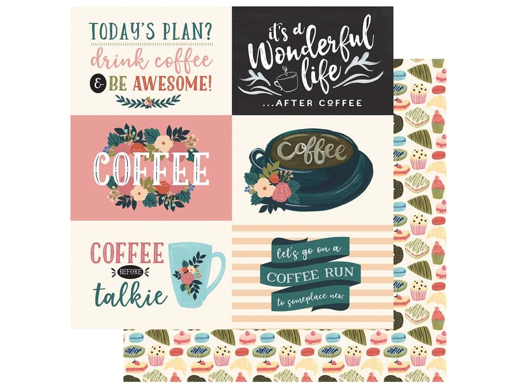 Echo Park Collection Coffee Paper 12 in. x 12 in. Journaling Cards 4 in. x 6 in. Horizontal (25 pieces)