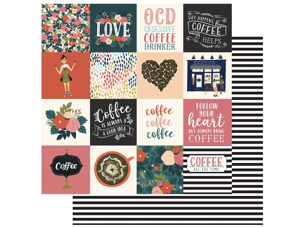 Echo Park Collection Coffee Paper 12 in. x 12 in. Journaling Cards 3 in. x 3 in. (25 pieces)