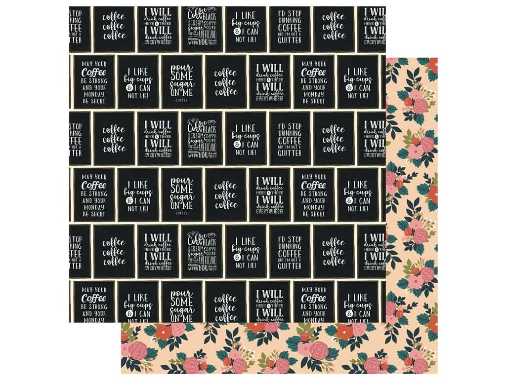 Echo Park Collection Coffee Paper 12 in. x 12 in. I Like Big Cups (25 pieces)