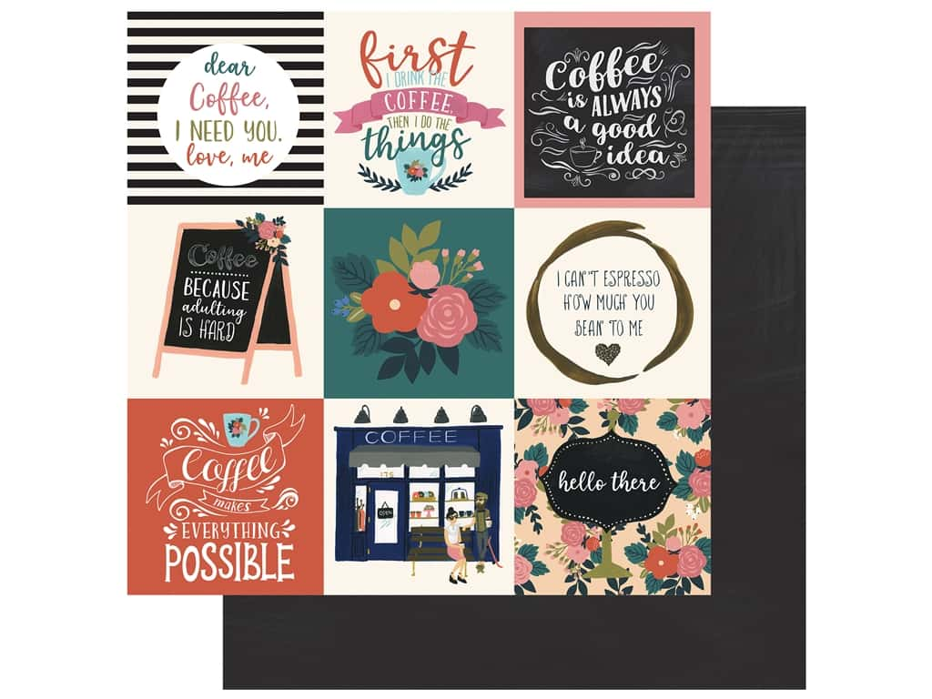 Echo Park Collection Coffee Paper 12 in. x 12 in. Journaling Cards 4 in. x 4 in. (25 pieces)