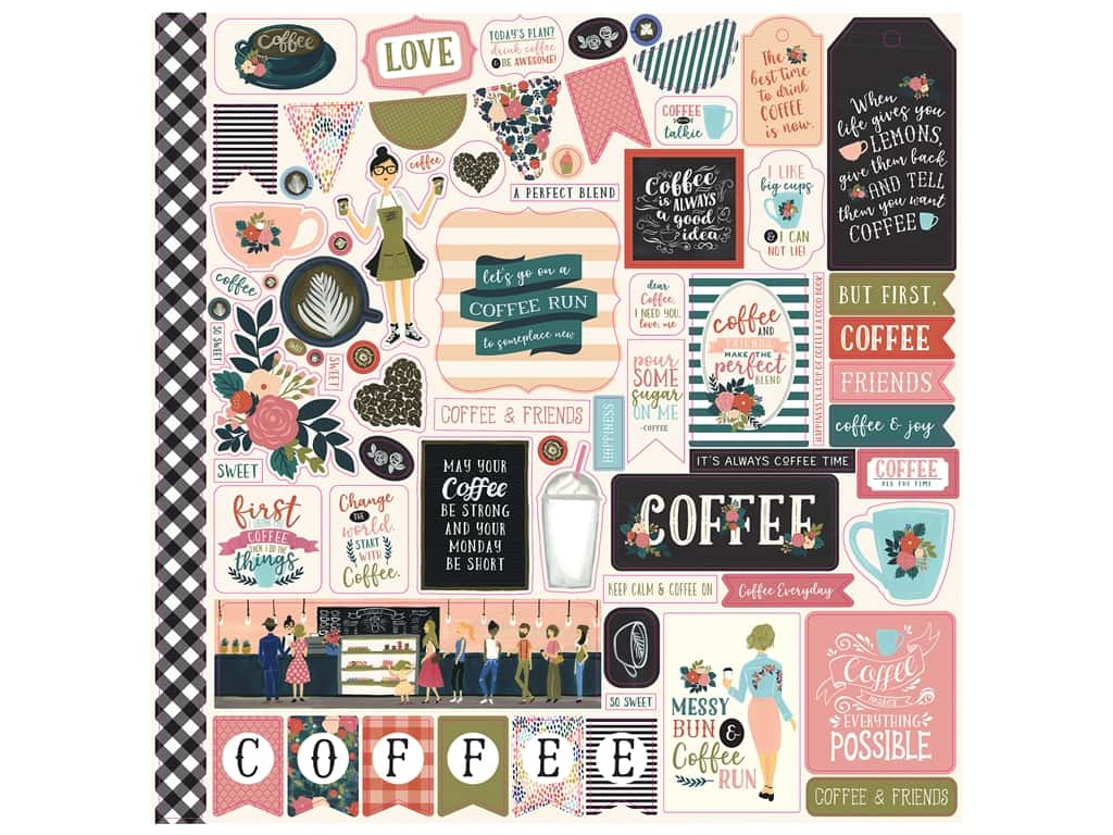 Echo Park Collection Coffee Sticker 12 in. x 12 in. Elements (15 pieces)