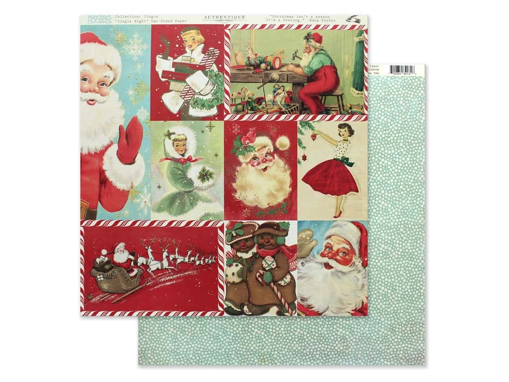Authentique Collection Jingle Paper 12 in. x 12 in. Eight (25 pieces)
