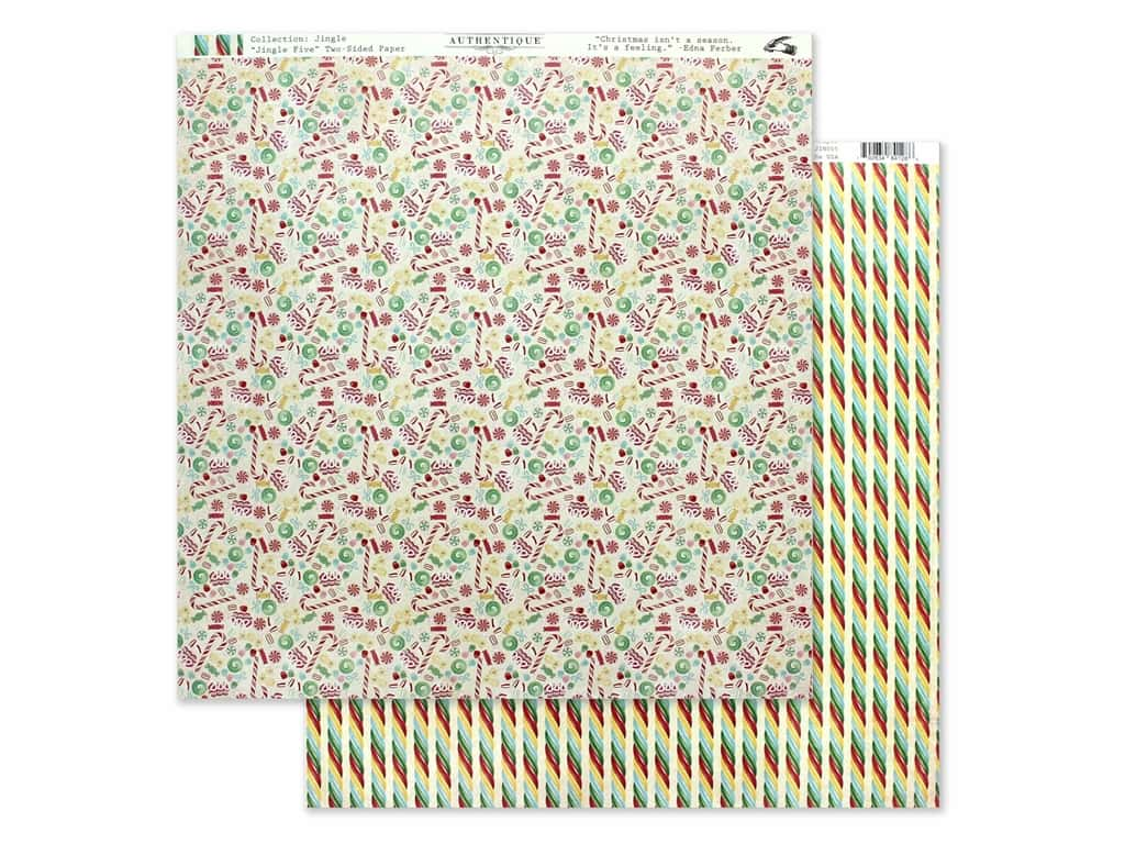 Authentique Collection Jingle Paper 12 in. x 12 in. Five (25 pieces)