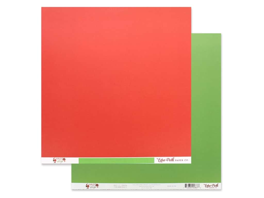 Echo Park Collection Merry & Bright Paper 12 in. x 12 in. Red/Light Green (25 pieces)