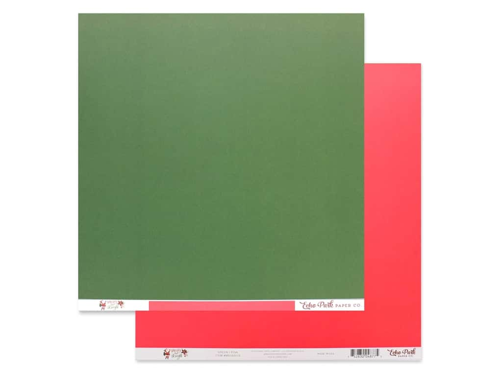 Echo Park Collection Merry & Bright Paper 12 in. x 12 in. Green/Pink (25 pieces)