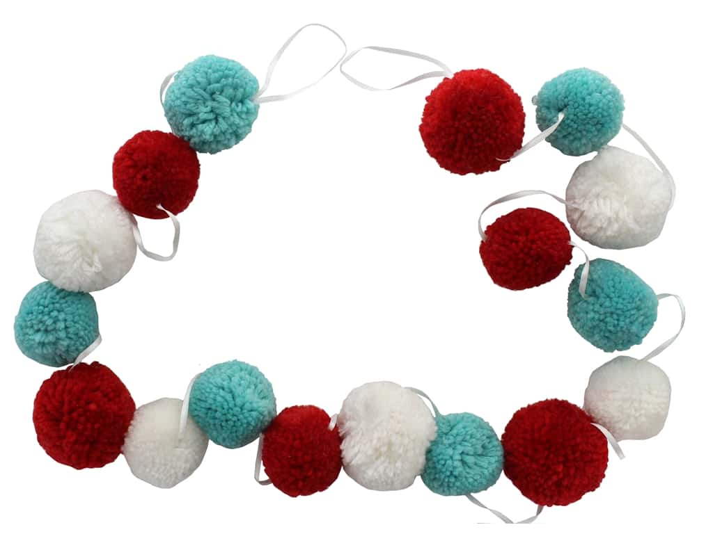 Sierra Pacific Crafts Garland Pom Pom Chenille 76 in. Red/White/Teal