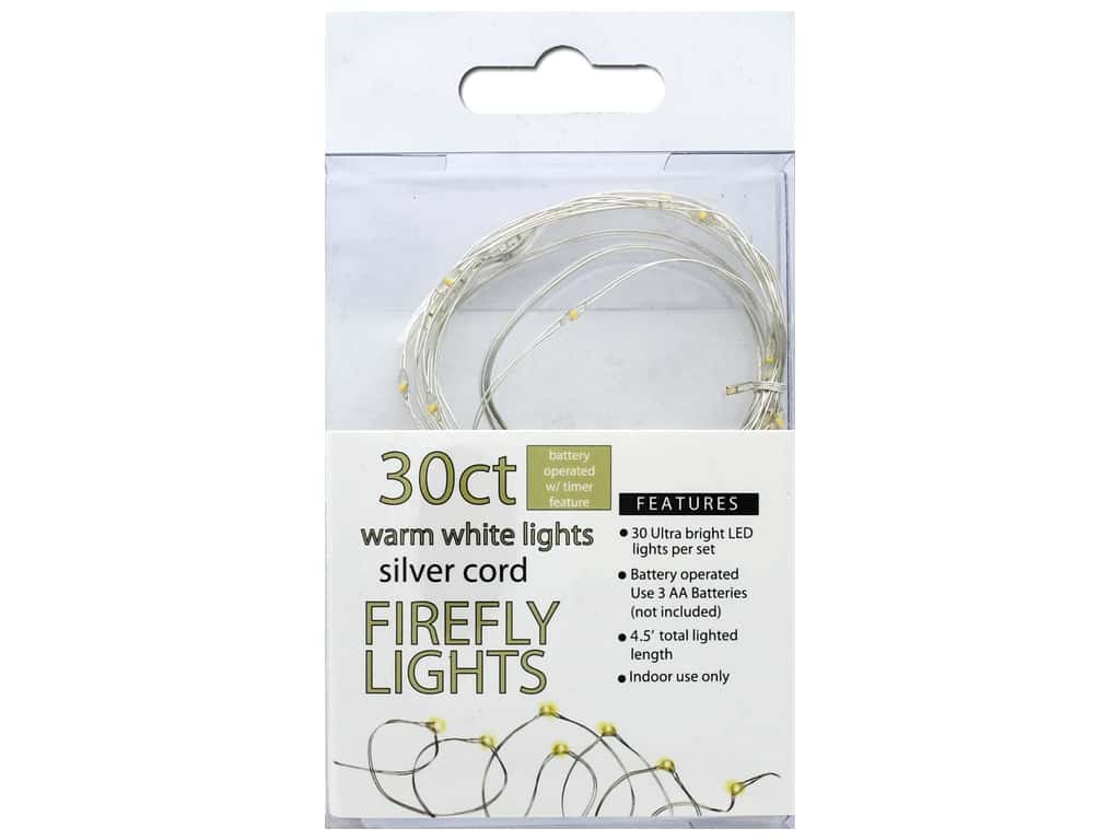 Sierra Pacific Crafts Lights Firefly 30 ct With Timer Warm White/Silver Cord