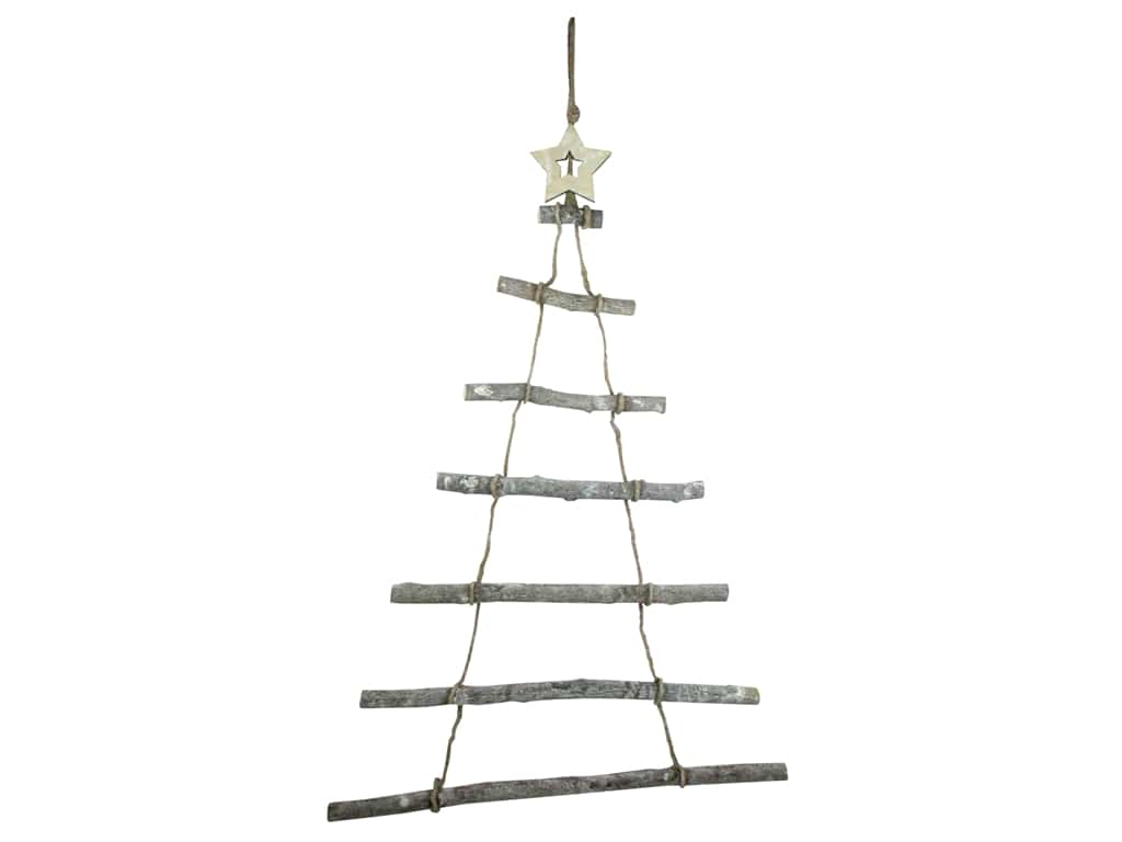 Sierra Pacific Crafts Wood Ladder Tree With Star Natural 32 in.