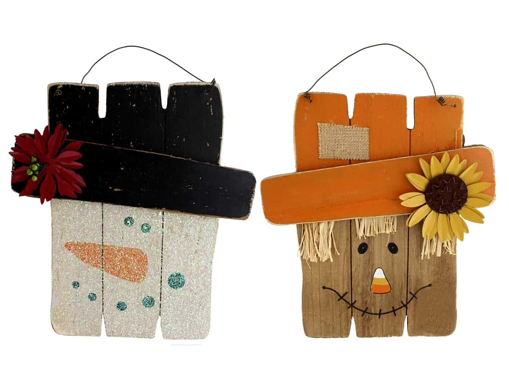 Sierra Pacific Crafts Wood Wall Art Reversible Snowman/Scarecrow With Hat