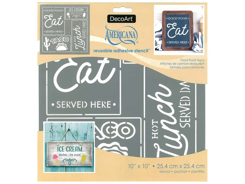 DecoArt Stencil Americana Adhesive 10 in. x 10 in. Food Truck Sign