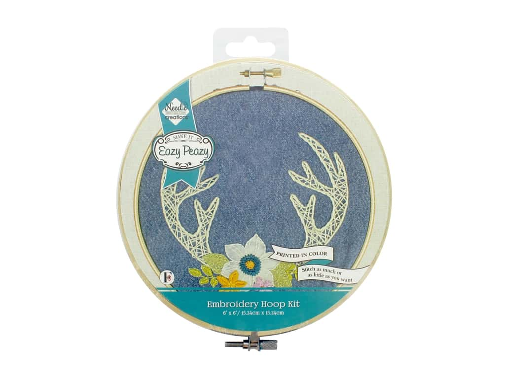 Needle Creations Kit Embroidery Hoop 6 in. Denim Antlers