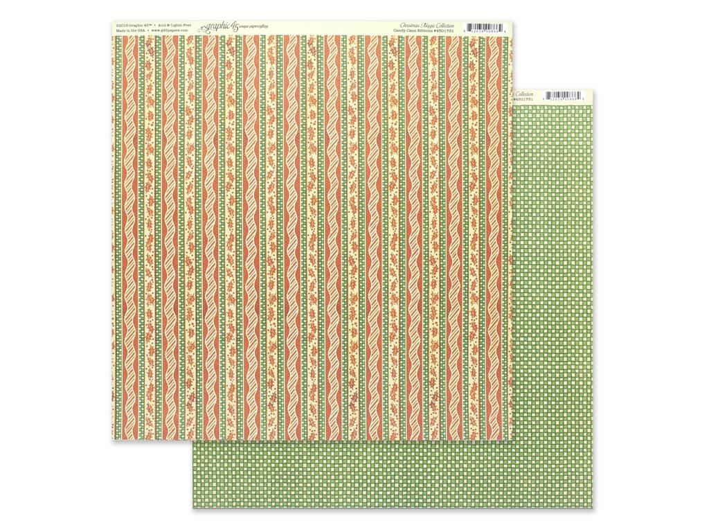 Graphic 45 Collection Christmas Magic Paper 12 in. x 12 in. Candy Cane Ribbons (25 pieces)