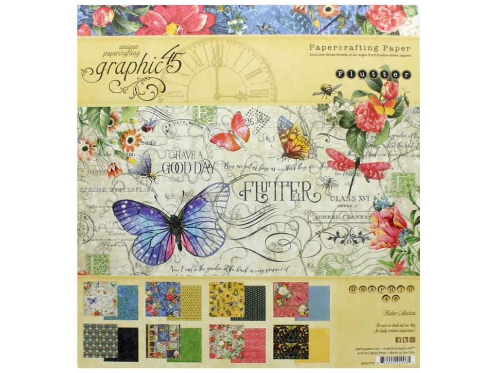 "Graphic 45 Collection Flutter Paper Pad 8""x 8"""