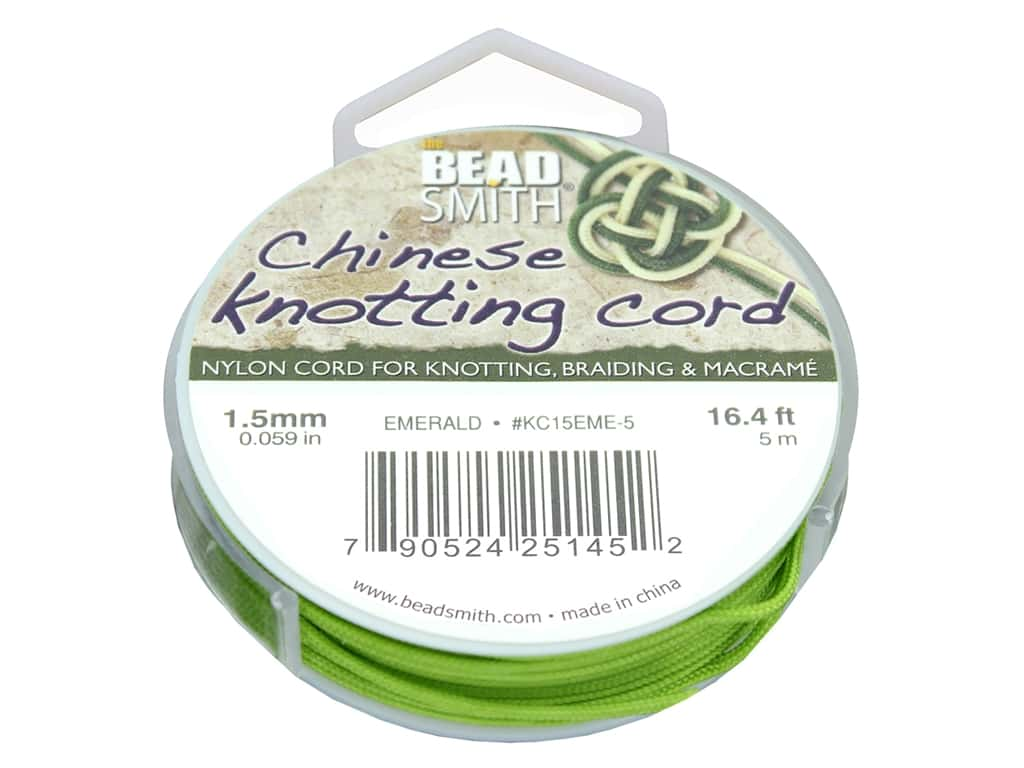 The Beadsmith Chinese Knotting Cord 1.5 mm Emerald