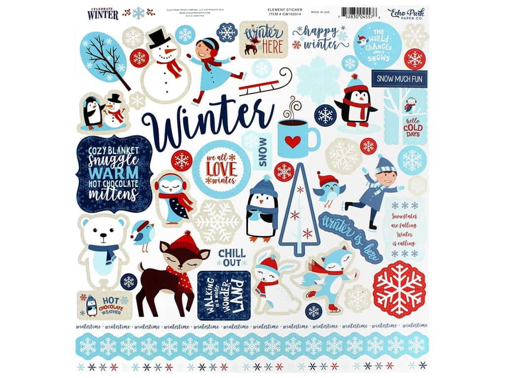 Echo Park Collection Celebrate Winter Sticker 12 in. x 12 in. Elements (15 pieces)
