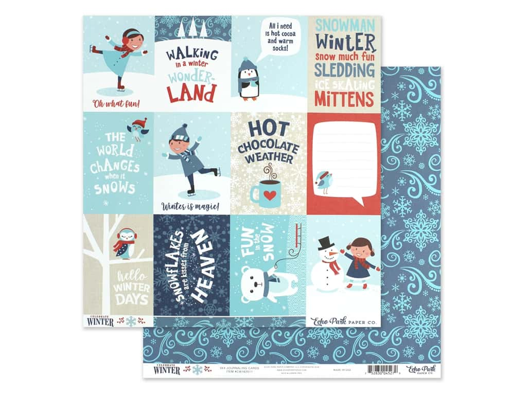 Echo Park Collection Celebrate Winter Paper 12 in. x 12 in. Journaling Cards 3 in. x 4 in. (25 pieces)