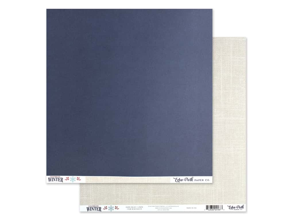 Echo Park Collection Celebrate Winter Paper 12 in. x 12 in. Dark Blue/Linen (25 pieces)