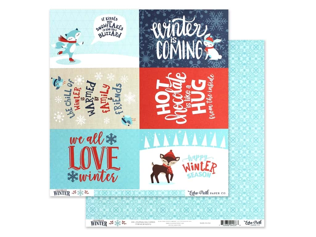 Echo Park Collection Celebrate Winter Paper 12 in. x 12 in. Journaling Cards 4 in. x 6 in. (25 pieces)