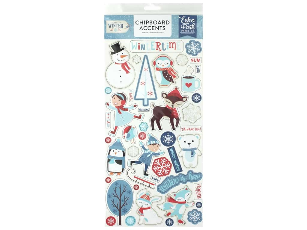 """Echo Park Collection Celebrate Winter Chipboard 6""""x 12"""" Accents"""