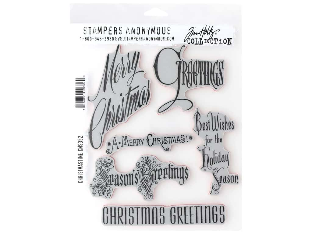 Stampers Anonymous Tim Holtz Cling Mount Stamp Set - Christmas Time